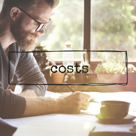 Costs concept with a man working in the background