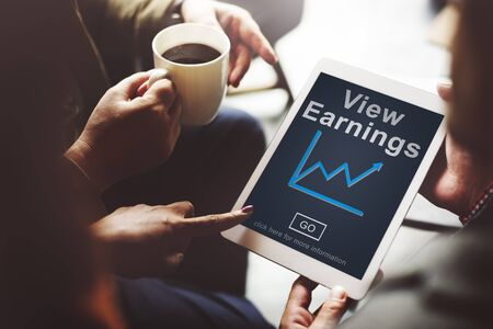earnings: View Earnings Budget Finance Investment Income Concept