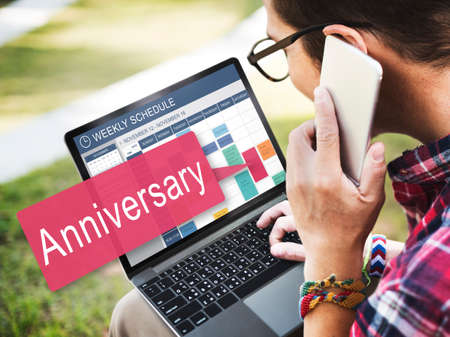 yearly: Anniversary Annual Celebration Remember Yearly Concept Stock Photo