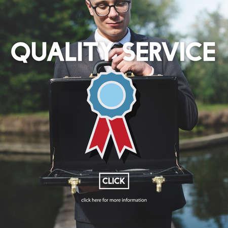attache case: Quality Service Best Guarantee Value Concept Stock Photo