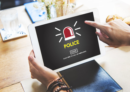 police force: Police Force Cop Municipale Surveillance Officer Law Concept Stock Photo