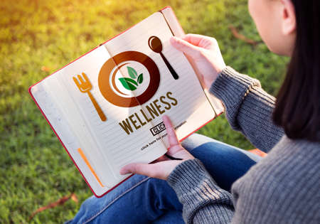woman eating: Wellness Wellbeing Health Healthi Lifestyle Concept Stock Photo