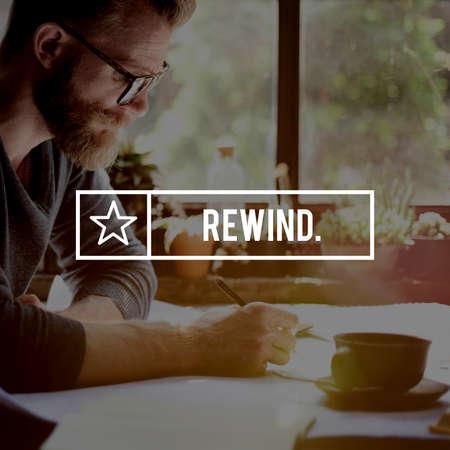 recover: Rewind Rewinding Restart Reset Recover Rerun Concept