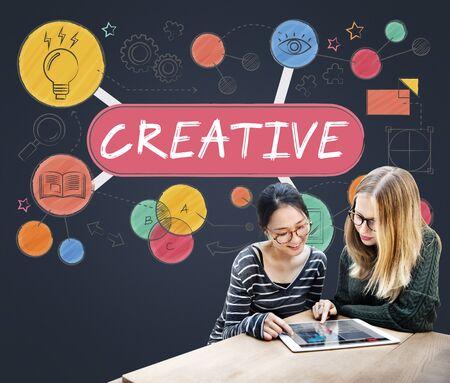 friend chart: Creative Creativity Thinking Invention Concept Stock Photo
