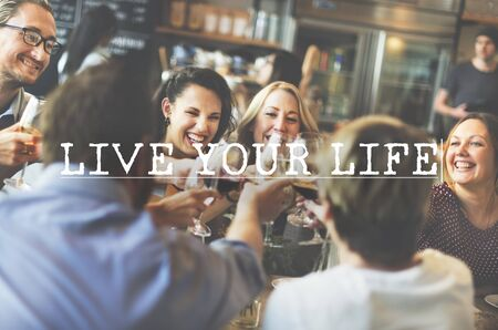 realtime: Live Life Alive Balance Real-Time Residence Enjoy Concept Stock Photo