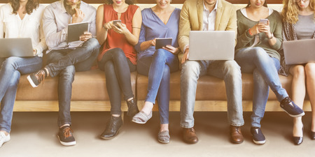 Diversity People Connection Digital Devices Browsing Concept Stock Photo