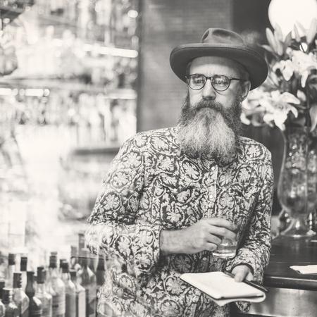 booze: Senior Man Liquor Booze Alcohol Bar Counter Concept