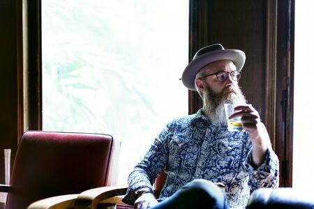 booze: Senior Man Liquor Booze Alcohol Bar Drinking Concept