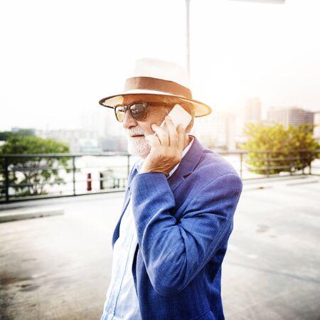 mobile communication: Senior Man Mobile Phone Communication Connection Technology Concept