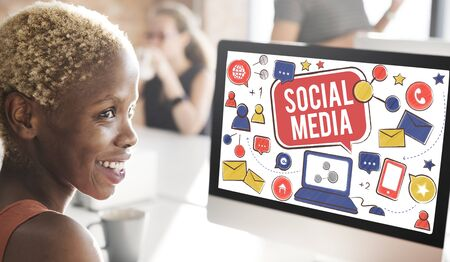 african woman at work: Social Media Connection Global Communication Concept Stock Photo