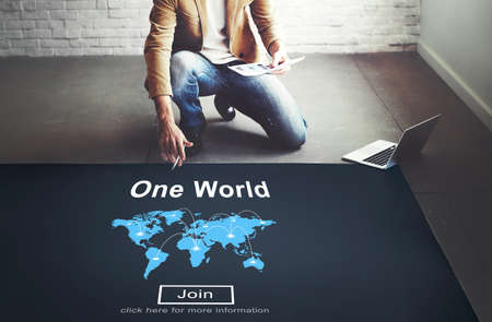 globalization: One World Society Globalization Earth Concept Stock Photo