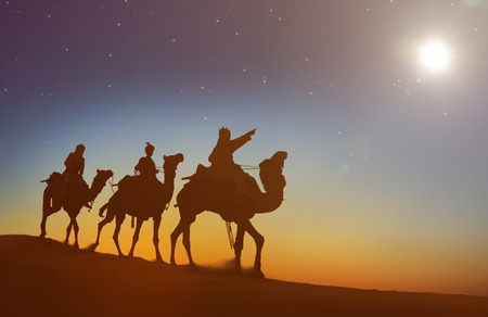 three kings: Three Kings Looking At The Star Concept Stock Photo