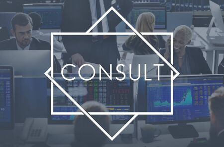 advise: Consult Advise Consulting Planning Strategy Concept Stock Photo