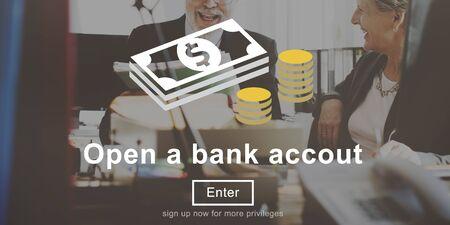 account executive: Open a Bank Account Banking Finance Concept Stock Photo