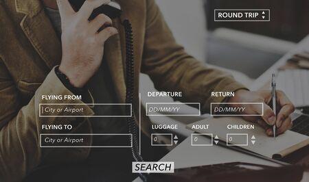 return trip: Booking Transportation Departure Arrive Flight Concept