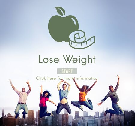 nutrition health: Lose Weight Balance Fitness Slim Diet Nutrition Concept Stock Photo