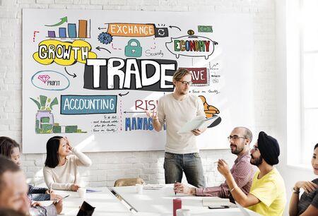 barter: Trade Export Economy Exchange Finance Concept Stock Photo