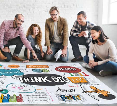 optimismo: Think Big optimismo positivo Concepto Idea Intenci�n