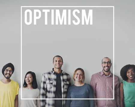 楽観楽観的な肯定的な思考態度概念 写真素材