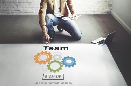 homepage: Team Teamwork Homepage Collaboration Concept Stock Photo