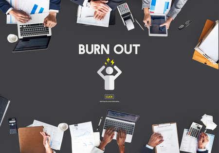 quemadura: Quemar concepto de la tensi�n exceso de trabajo cansado