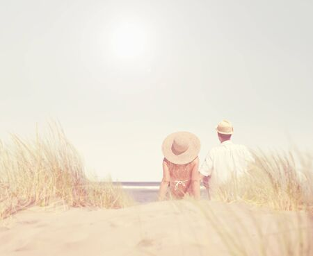 couple dating: Couple Dating Beach Summer Fun Concept