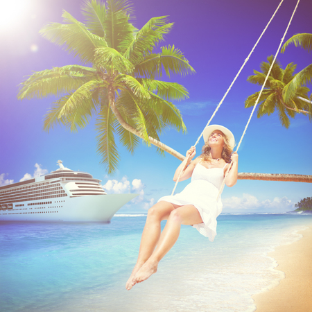 swinging: Woman Swinging Summer Beach Relaxing Concept