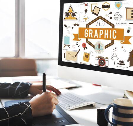visual: Graphic Creative Design Digital Illustrative Visual Concept Stock Photo