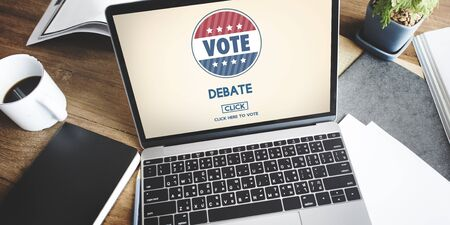 debate: Debate Conversation Depute Talking Concept Stock Photo