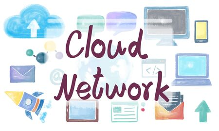 storage: Cloud Network Connection Data Storage Technology Concept Stock Photo