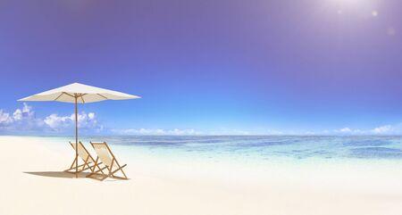 Chaise longue sur la plage tropicale.