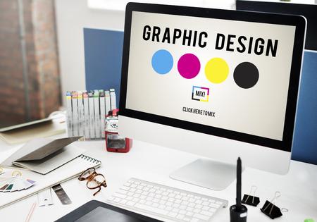 Concetto di creatività del grafico di progettazione dell'inchiostro di CMYK