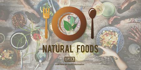 Los alimentos naturales comer bien Buena Conservación Diner Concept