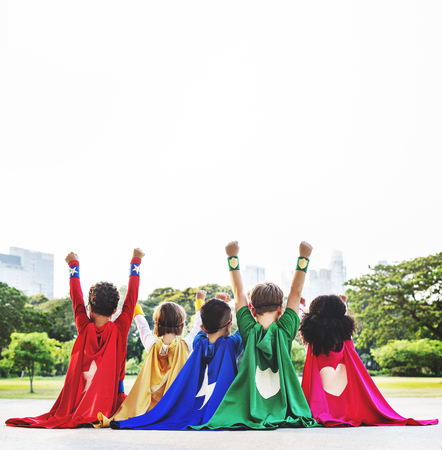 Superhero enfants Aspiration Imagination Joueuse Fun Concept
