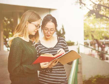 women friendship: Women Talking Friendship Studying Brainstorming Concept