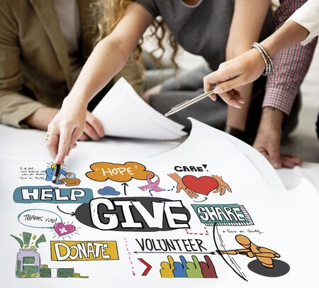 welfare: Give Aid Charity Support Welfare Concept Stock Photo