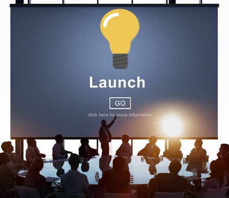 new start: Launch Start Brand Introduce Light Bulb Concept Stock Photo
