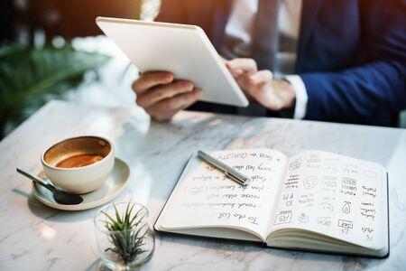 businessman thinking: Businessman Working Thinking Planning Business Concept