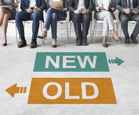 breaking new ground: New Old Current Previous Latest Modern Business Concept