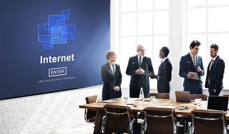 Browsing internet concept in a board room