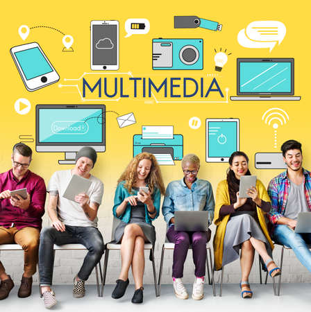 african descent: Multimedia Communication Connection Technology Devices Concept Stock Photo