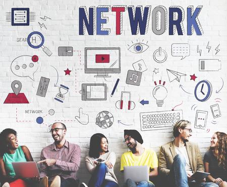 diversity domain: Network Link Internet Computer System Communication Concept Stock Photo