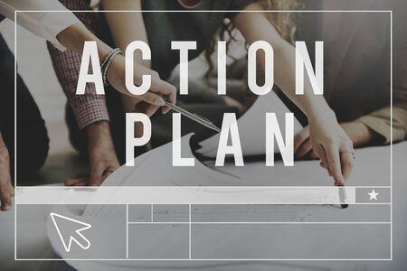 plan de accion: Concepto Direcci�n Plan de Acci�n de la Estrategia de Planificaci�n Visi�n Foto de archivo