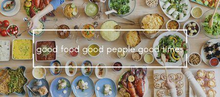 Concepto Unión buena comida, buena gente buena Food Party tiempos