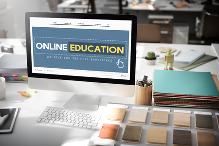 place to learn: Online Education Homepage E-learning Technology Concept Stock Photo