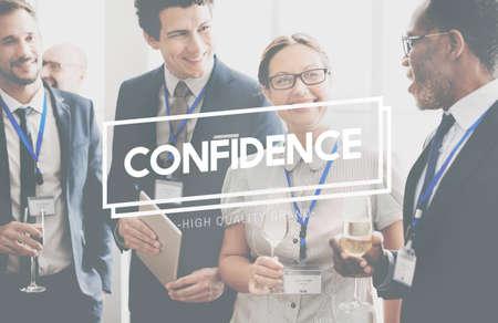 self assurance: Confidence Reliability Conviction Reliability Concept Stock Photo
