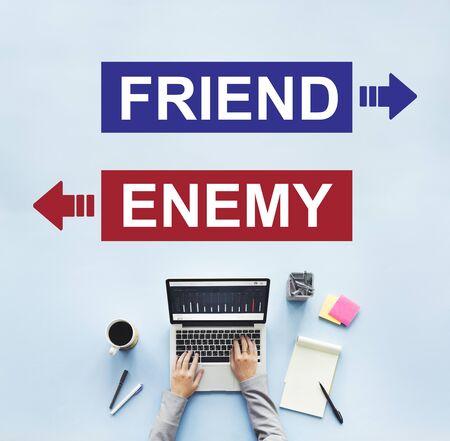conflictos sociales: Amigo Enemigo adversario Frente dilema concepto de elecci�n