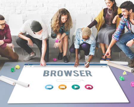 functionality: Browser Content Functionality Information Internet Concept Stock Photo
