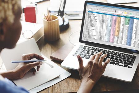 Spreadsheet Document Information Financial Startup Concept Banco de Imagens - 57391595