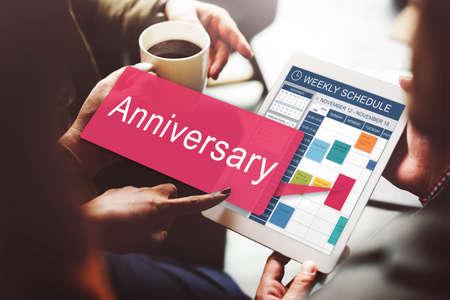 recordar: Anniversary Annual Celebration Remember Yearly Concept Foto de archivo